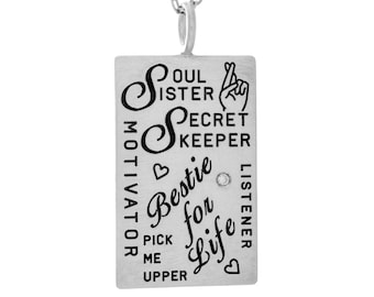 Modern Silver Rectangle Charm Necklace, Maid of Honor Necklace, Personalized Soul Sister Pendant, Bestie For Life Custom Engraved Handmade
