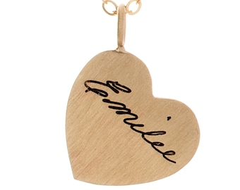 Memorial Jewelry | Engraved Heart Necklace | Your Loved One's Handwriting or Signature | Handwriting Necklace