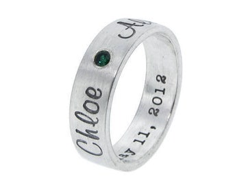 Silver Personalized Ring   Contemporary Silver Band   Diamond Ring   Birthstone Ring   Modern Hand Stamped Custom Mommy Jewelry