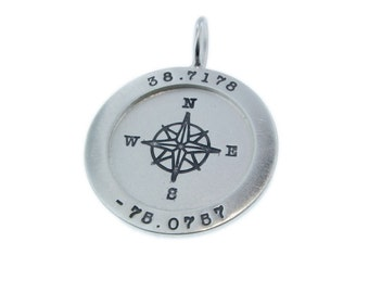 Gps Coordinate Silver Dog Tag For Him Hand Stamped Mens Etsy