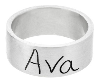 Engraved Handwriting Ring | Handwritten Note Jewelry | Mother's Day Gift | Personalized Silver Band | Sentimental Jewelry | Hidden Message