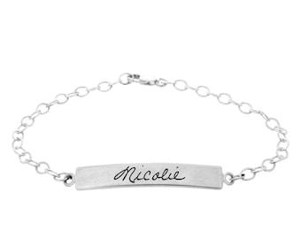 Engraved Bracelet, Handwriting Bracelet, Handwritten Personalized Memorial Jewelry, Custom Engraving, Mom Dad Handwriting, Handwritten Gift