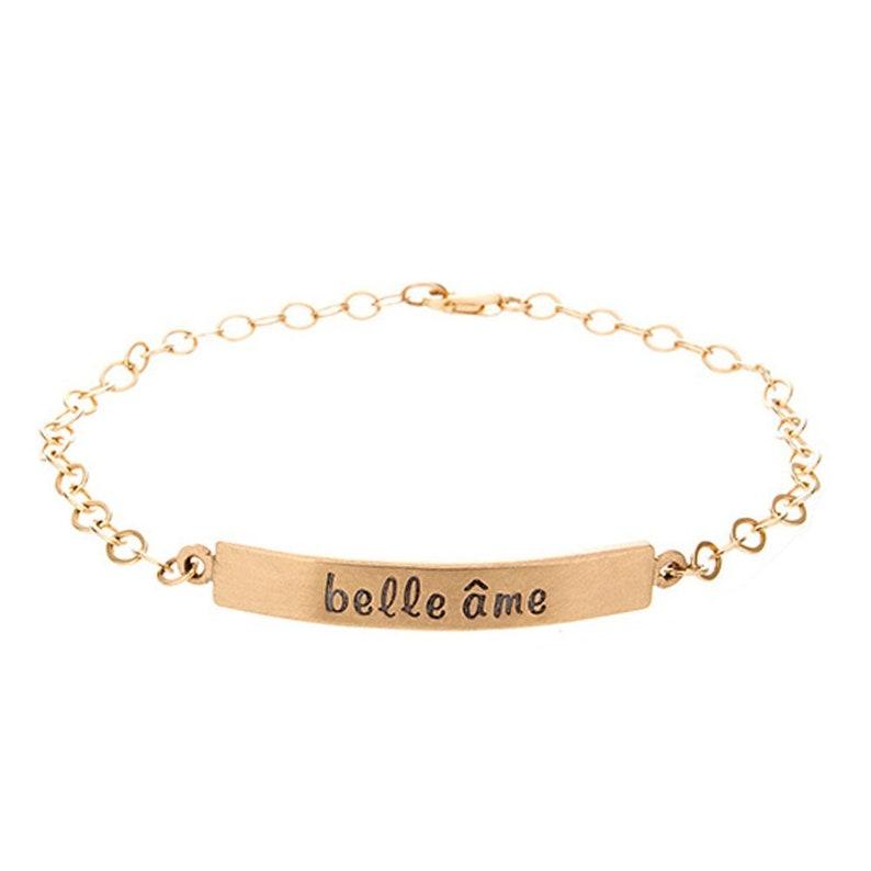 Valentine Gift for Her  Nameplate Bracelet  14K Gold image 0