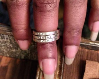 Stackable Name Rings, Silver Stacking Rings, Personalized Wear Your Word, Ring Set, Hand Stamped Custom Sterling Jewelry