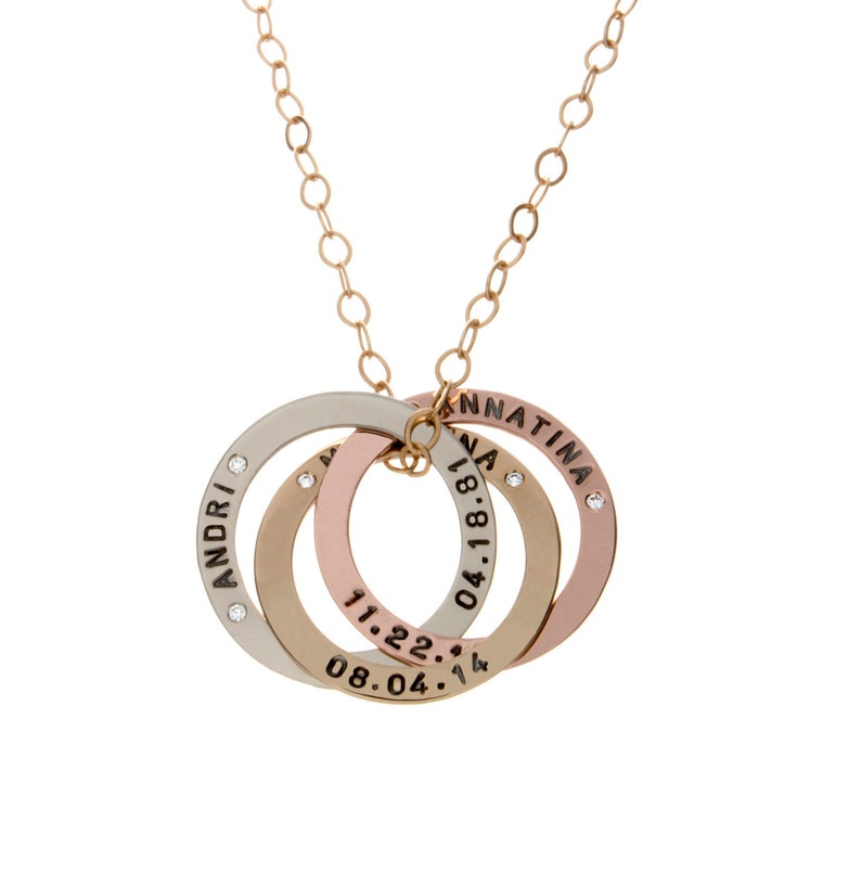 Personalized Russian Ring Necklace  Solid Gold  Linked image 0