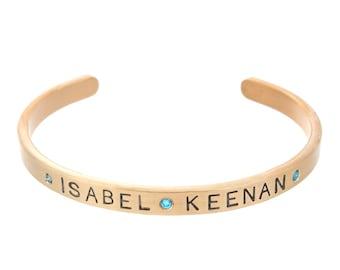 Bracelet with Children's Names Engraved   Love My Kids Gold Cuff   Blue Diamond Birthstones   March Birthstone