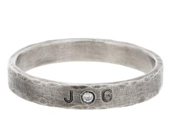 White Gold Anniversary Ring with Initials & Diamond