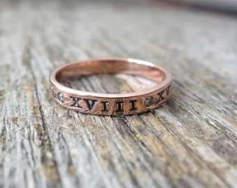 14K Gold Mother's Ring Baby's Birthdate Hand Stamped Roman Numerals Personalized Promise Ring Custom Secret Hidden Message Jewelry