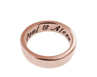 Thick 14K Solid Gold Ring Personalized Wedding Band Hand Stamped Names Custom Anniversary Gift Engraved Artisan Handmade Fine Unisex Jewelry