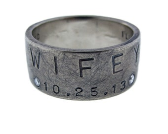Custom Stamped Wedding Ring 14k White Gold with Diamonds | Wide Gold Wedding Band Artisan Hand Stamped 10mm Wide Band Handcrafted