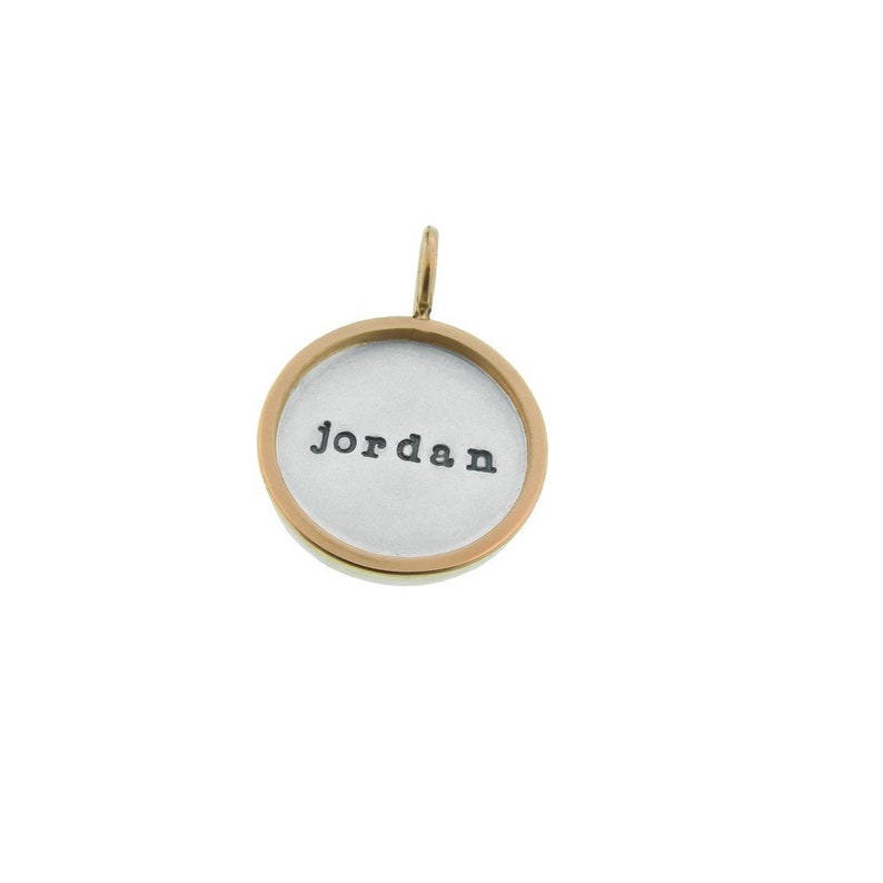 Personalized Mixed Metal Rimmed Pendant Birthday Gift for Women Custom Silver and Gold Framed 58 Charm