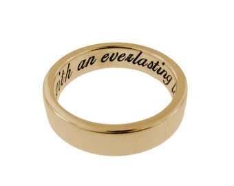 Personalized 14K Solid Gold Ring Hand Stamped Vows Custom Wedding Everyday Band Engraved Ring for Mothers Day Handcrafted Anniversary Gift