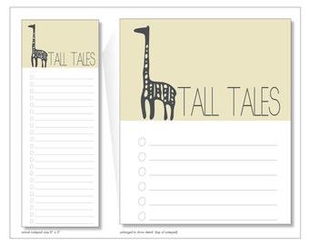 tall tales // notepad // giraffe // yellow // list // to do // lines // checkbox // skel // skel design // skel & co