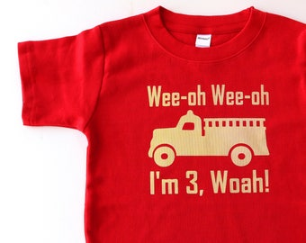 Vintage Fire Truck 3rd Birthday Shirt, Toddler Birthday Shirt, Fire Truck Birthday Party Shirt, third birthday gift