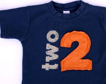 Vintage Applique Number shirt, Toddler or Kids Birthday shirt, Navy and Orange (No Ink) second birthday, 1st, 2nd,3rd,4th
