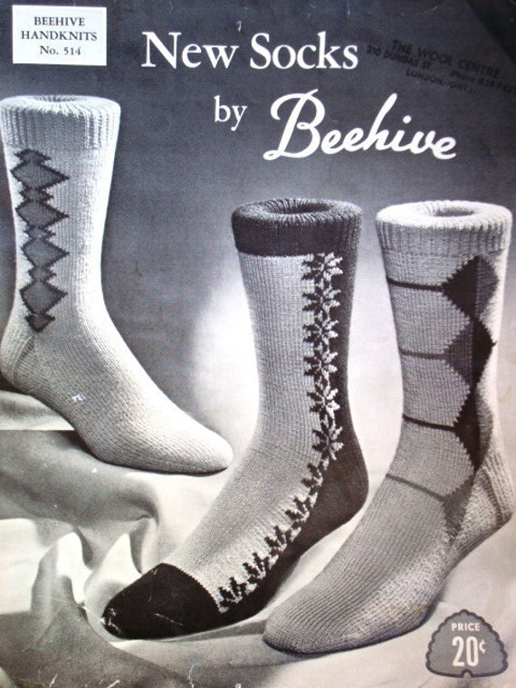 New Socks Beehive Knitting Pattern No 514 Beehive Mens Socks Etsy