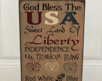 Primitive Americana Hand Painted Stenciled Typography Sign-4th of July-Patriotic-Primitive Americana Decor