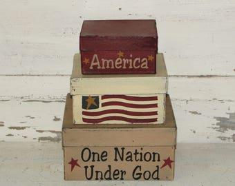 America One Nation Under God Primitive Stacking Boxes, Americana Stacking Boxes, Shelf sitter, Liberty, July 4th, Patriotic