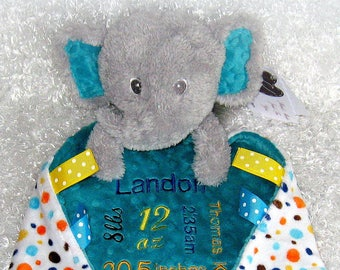 8e01b21980ae Birth Announcement Stuffed Elephant Toy with Lovey