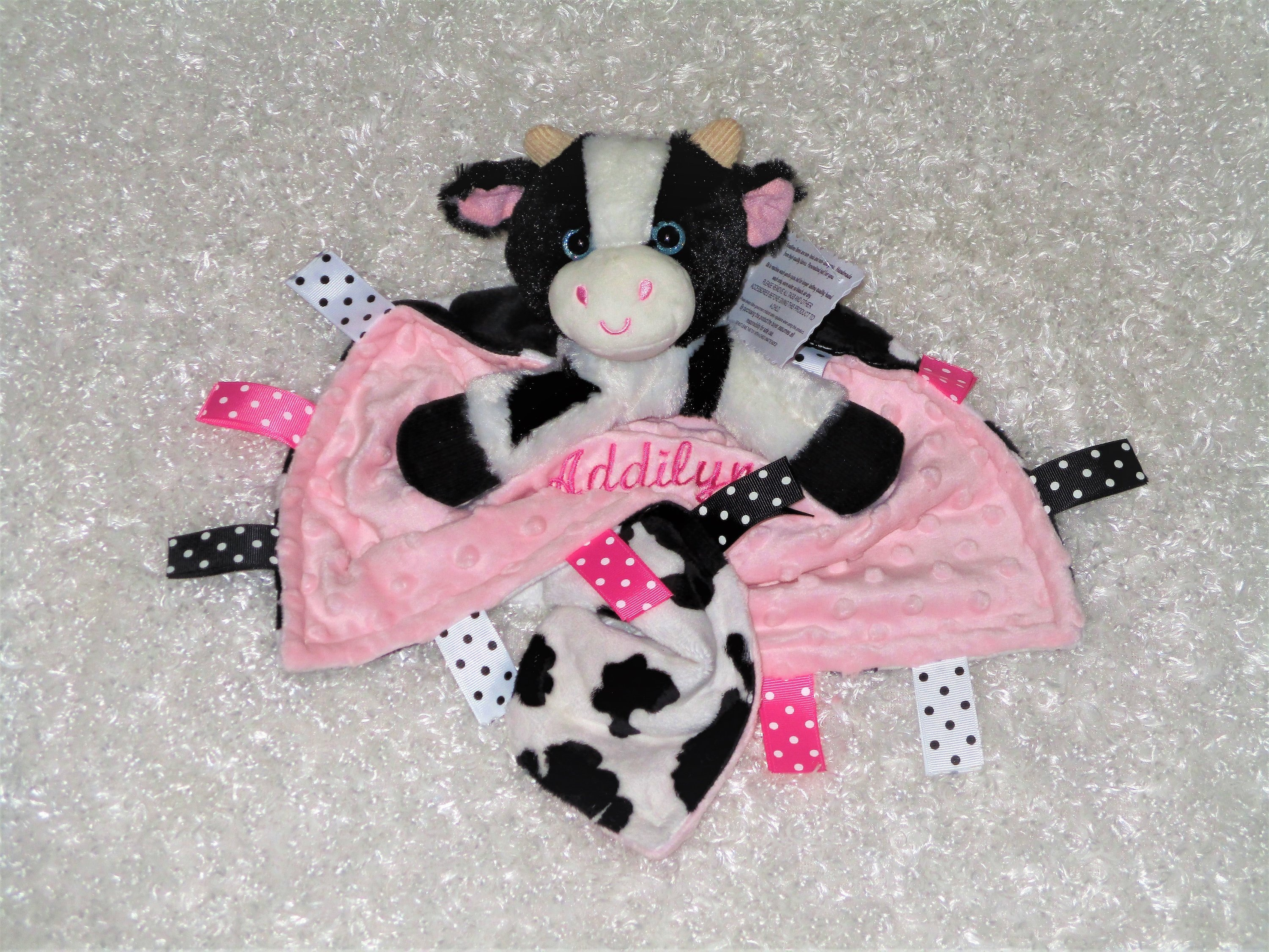 Personalized Baby Lovey With Attached Cow Toy Aka Security Etsy
