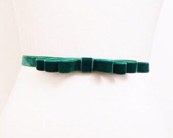 Emerald Velvet Bow Belt