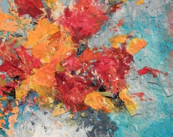 Original Acrylic Painting Abstract Floral 5 X 7