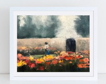 ACEO ATC painting signed art print Guardian of the Garden flower garden floral Art Artist Trading Card