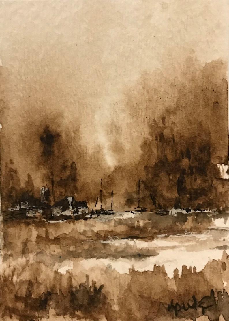 Original watercolor ACEO ATC Life on Salt Marsh II Monochromatic Sepia