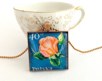 rose necklace, vintage postage stamp jewelry, rose pendant, vintage stamp necklace