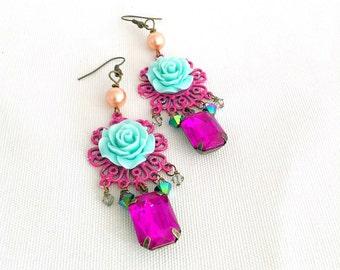 rose chandelier earrings, gypsy chandelier earrings, rose flower earrings, teal, dark pink, bohemian earrings