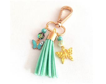 mint green bag tassel, clip on purse charms, butterfly bag charm, keychain tassels