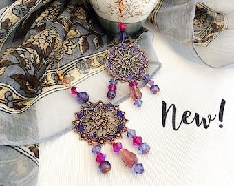 Moroccan earrings  exotic gypsy chandelier earrings, indigo blue fuschia bohemian jewelry, copper jewelry, niobium earrings