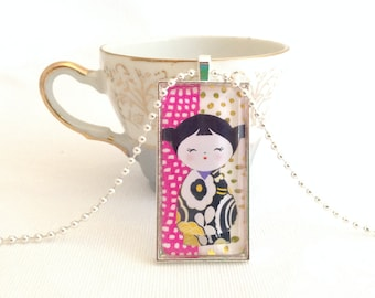 kokeshi doll necklace, domino pendant, kawaii doll jewelry