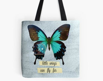 tote bag, butterfly market bag, small reusable shopping bag, book bag, inspirational quote