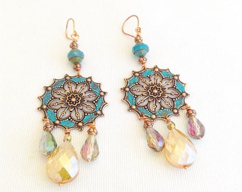 Moroccan earrings, exotic bohemian jewelry, turquoise and copper chandelier earrings,