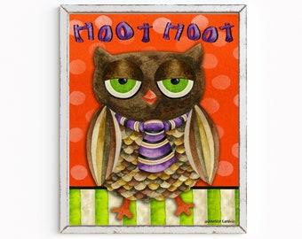 Hoot Hoot Halloween Art Print
