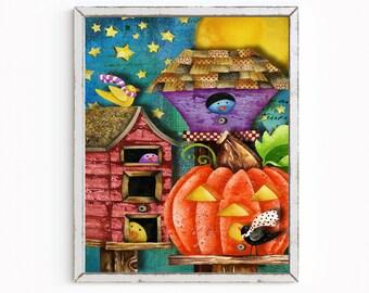 Halloween Birdie Houses Art Print