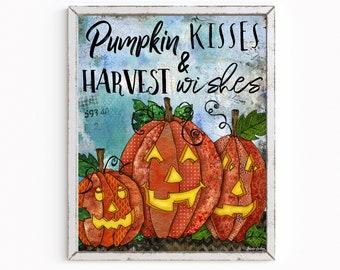 Pumpkin Kisses & Harvest Wishes Art Print