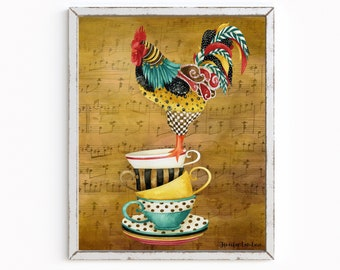 Musical Rooster Pour Me Some Tea Art Print