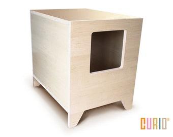 curio in maple modern cat litter box designer cat house cat furniture pet house mid century modern ready to ship - Cat Litter Box Enclosure