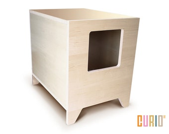 Merveilleux CURIO In Maple | Modern Cat Litter Box | Designer Cat House | Cat Furniture  | Pet House | Mid Century Modern | Ready To Ship