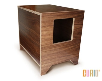 CURIO In Walnut | Modern Cat Litter Box | Designer Cat House | Cat Furniture  | Pet House | Mid Century Modern | Ready To Ship