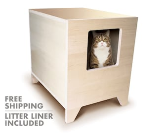 CURIO Modern Litter Box Solution | Litter Liner Included | Cat Furniture | Mid Century Modern | FREE SHIPPING