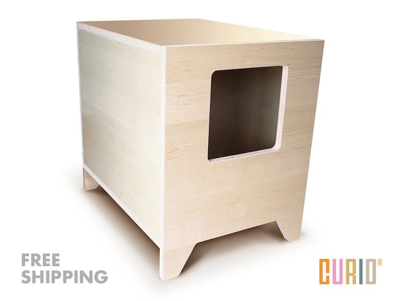 CURIO in Maple  Modern Cat Litter Box  Designer Cat House  image 0