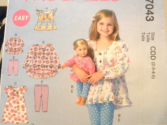 "McCall/'s 7275 Girls/' /& 18/"" Doll Clothes Top /& Pants    Sewing Pattern"