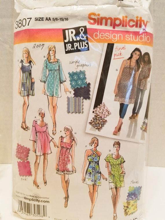 Simplicity 3807 JR & Jr. Mini dress and tunic Plus size 5/6-15/16 New  un-cut 2007