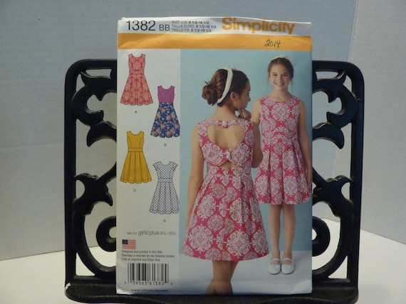 401007cec70 Simplicity 1382 Girls dress with back variations pattern 2014