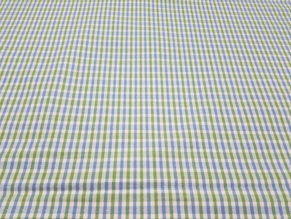 Blue And Green Check And Swiss Dot Fabric Drapery Fabric Etsy