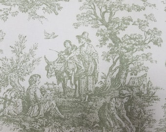 Sage Green and Cream Renaissance Toile Fabric, Drapery Fabric, Upholstery Fabric