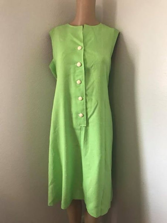 Lime Green Plus Size Or Maternity Vintage Mod Dress Etsy